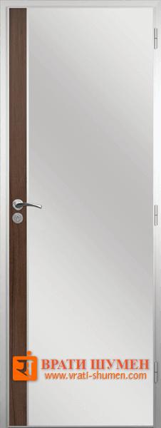 Алуминиева врата за баня с лайсна, Орех